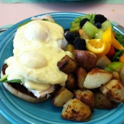 Chicken Avocado Eggs Benedict - The Cottage Restaurant