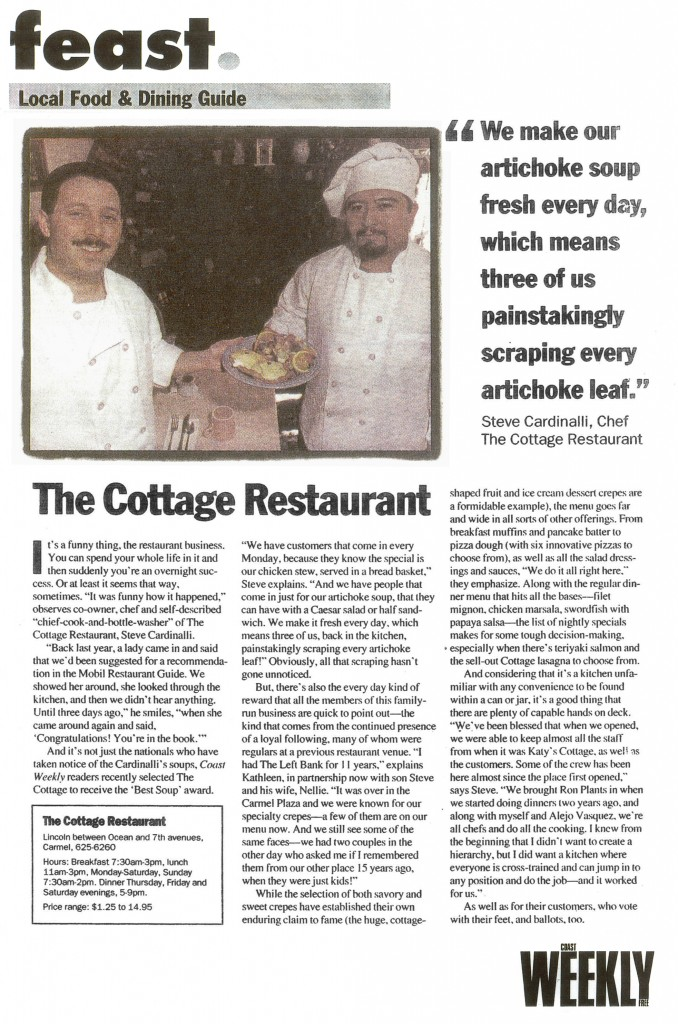 The Cottage Restaurant - Best Soup in Monterey